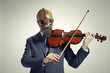 businessman with gas mask, plays the violin