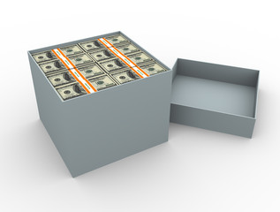 Box filled with money