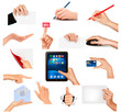 Set of hands holding different business objects  Vector