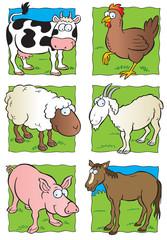 Cute farm animals collection