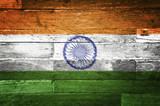 india flag painted on old wood