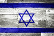 israel flag painted on old wood