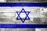 israel flag painted on old wood