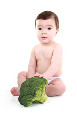 Baby with vegetables