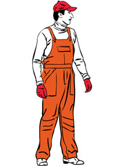 a sketch a worker is dressed in orange combination