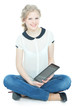 picture of happy teenege girl with tablet pc computer