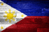 philippines flag painted on old wood