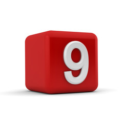 Red 3D block with number nine