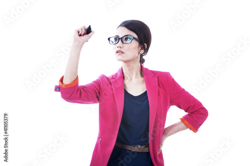Businesswoman drawing on copy space