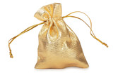 Golden Sack. Hight res. All in focus. Isolated on white poster