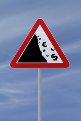 Modified Road Sign on Financial Crisis