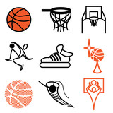 basketball sports icons vector set