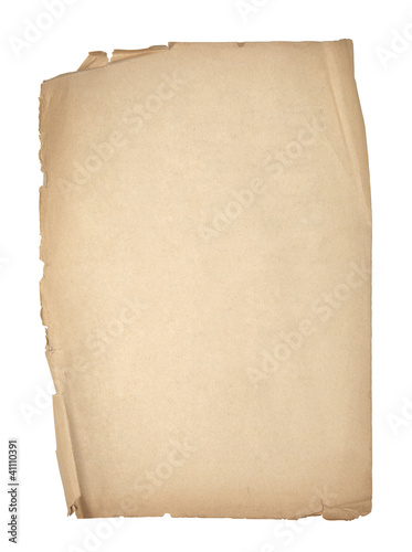 Old sheet of paper with clipping path
