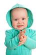Baby girl in coat with hood