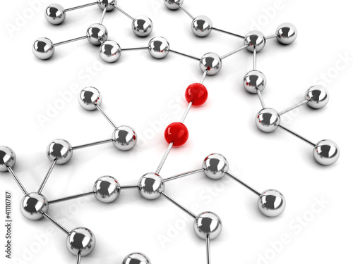 A network of connections with red leaders