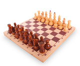 Chess on a chess board on white background