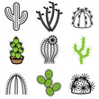 cactus icons vector set