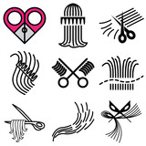 barbershop icons vector set poster