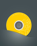 Yellow CD in black package. vector illustration