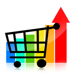 Sales growth business chart with shopping cart