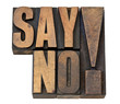 say no exclamation in wood type