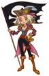 Cartoon captain pirate girl with Jolly Roger flag