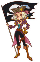 Cartoon captain pirate girl with Jolly Roger flag