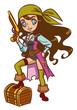 Chibi Cartoon pirate girl with powder gun and treasure chest
