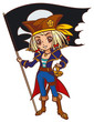 Chibi cartoon captain pirate girl with Jolly Roger flag