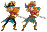 Cartoon pirate girl swaying the sword ready to attack