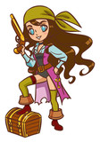Chibi Cartoon pirate girl with powder gun and treasure chest