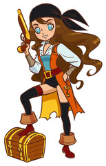 Cartoon pirate girl with powder gun and treasure chest