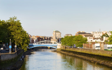 Dublin city at sunset - O'More and James Joyce bridges