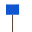 Tall Isolated Blue Road Sign on a Wood Post