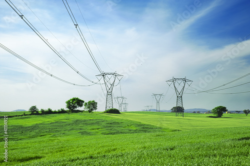 Leinwandbild Motiv energy and high voltage powerline