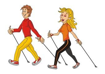 nordic walkers cartoon