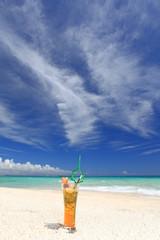 綺麗なビーチに置いたトロピカルドリンク