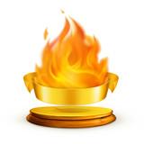 Golden flame, vector