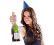 Cute young woman celebrating with champagne