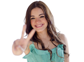 Young woman giving a peace sign