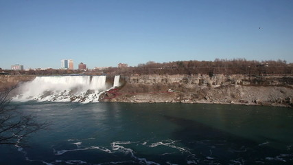 Pan over Niagara two Waterfalls