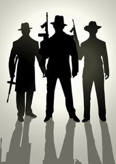 Silhoutte illustration of gangsters