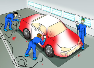 Cartoon illustration of an automobile paint shop
