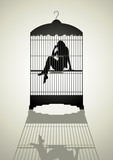 Silhouette illustration of a woman figure in the birdcage