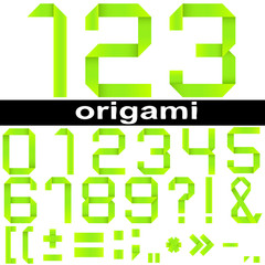 High resolution origami font set isolated