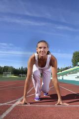 beauty girl run stadium