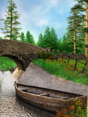 Łódka na rzece w pobliżu mostu