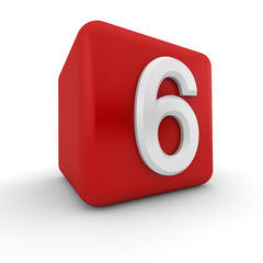 Red 3D block with number six