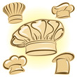 Chef hat vector icon set
