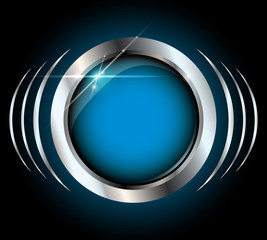 Blue metallic glossy vector button with copyspace